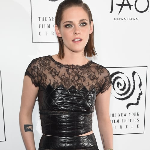 Kristen Stewart in Black Leather Chanel 2016