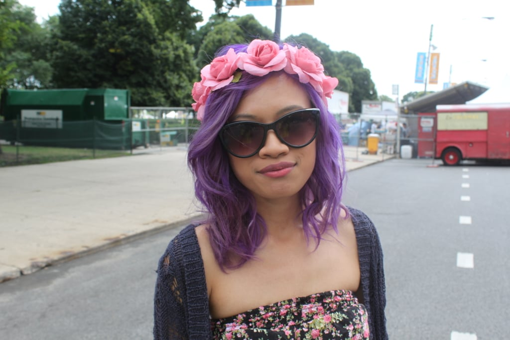 Purple hair and a crown of pink roses made Jennie the poster child for all things festival beauty.