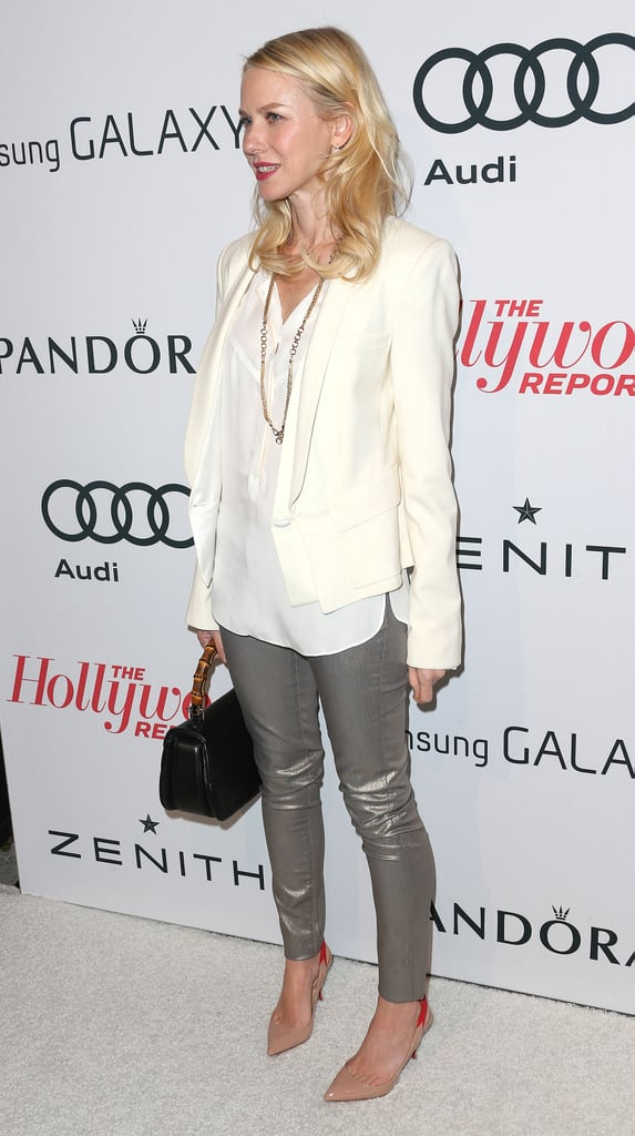 Naomi Watts showed off her legs in gray pants.