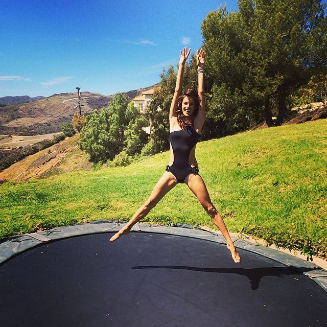 Alessandra Ambrosio had fun on a trampoline. Source: Instagram user alessandraambrosio