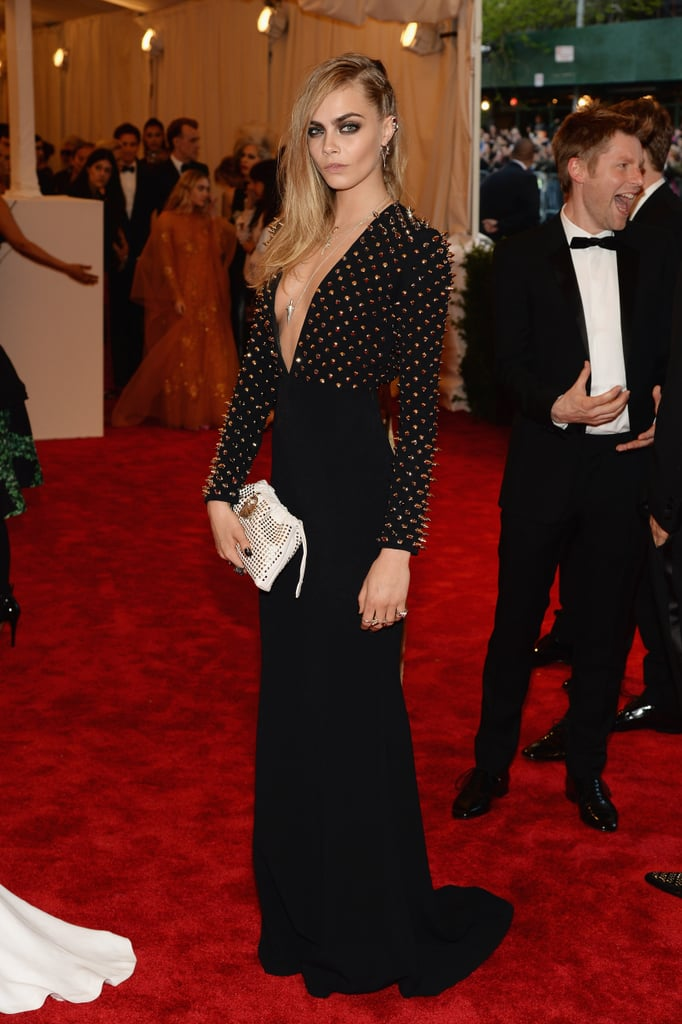 Cara Delevingne's studded Burberry gown was equal parts tough girl and glamazon, thanks to its plunging neckline.