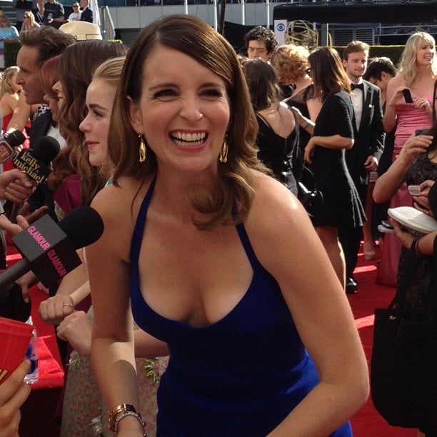 Tina Fey got a case of the giggles on the red carpet. Source: Instagram user elleusa