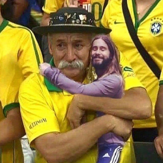 Jared Hugging the Famous World Cup Fan