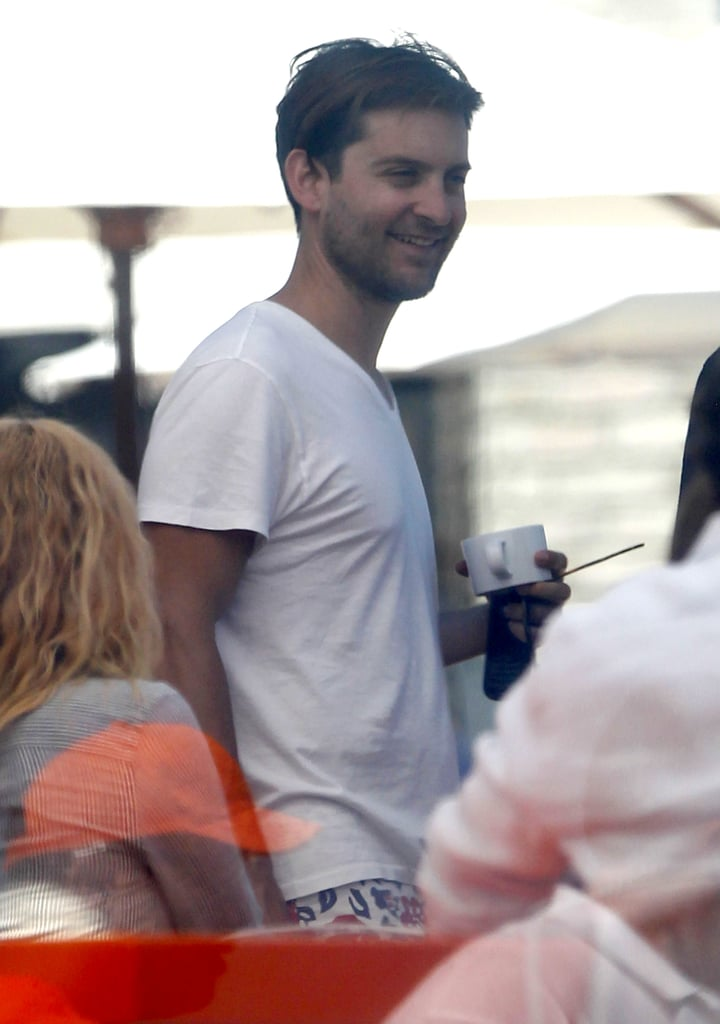 Tobey Maguire relaxed at Joel Silver's Memorial Day party in LA.