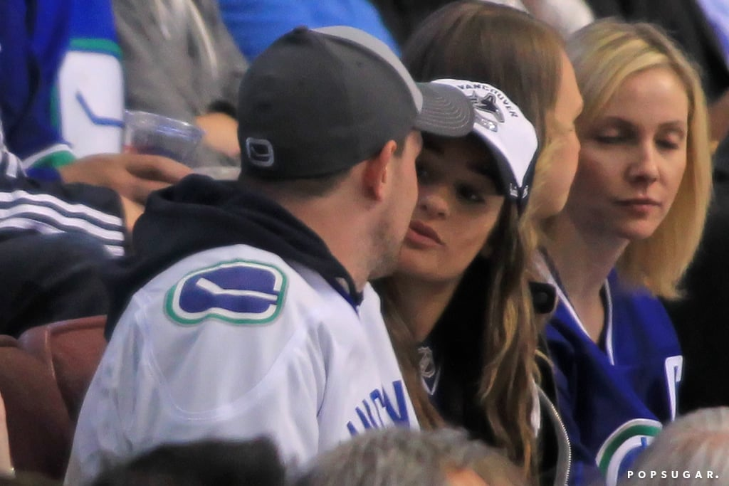 Lea Michele chatted with Cory Monteith during the game.