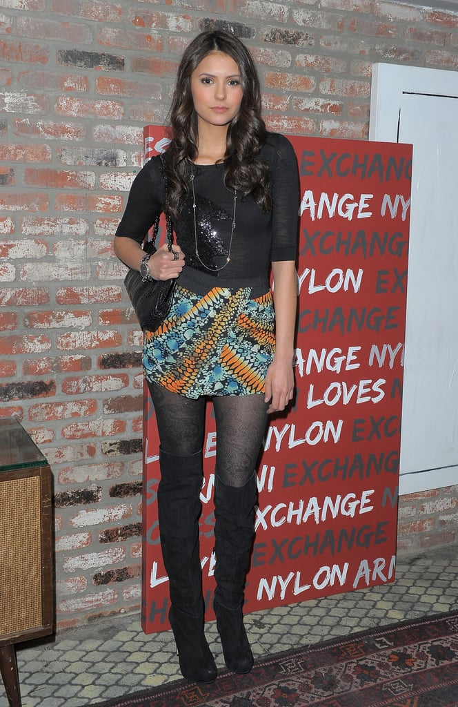 To provide her darker ensemble with a burst of colour, she donned a vibrant printed skirt at a Nylon party in 2010.