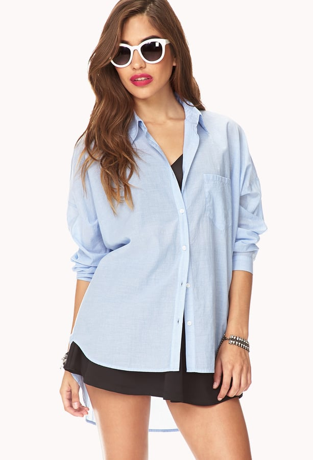 Forever 21 Oversize Blue Button-Down