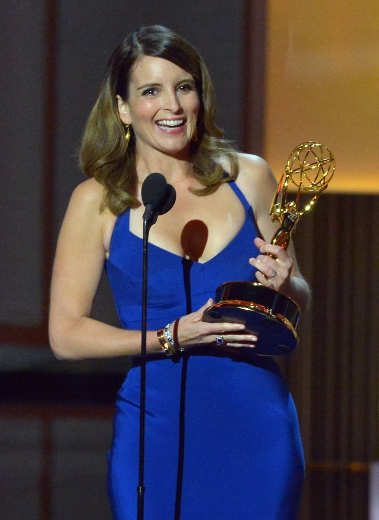 Tina Fey was all smiles when she won the Emmy for best writing in a comedy series for 30 Rock.