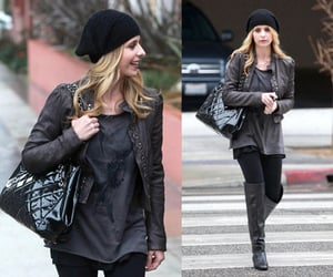 Sarah Michelle Gellar Wearing Black Slouchy Beanie and Over the Knee Boots