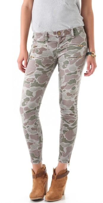 We're loving the lighter wash on these cool camouflage jeans. Current/Elliott The Multi Zip Stiletto Jeans ($218)