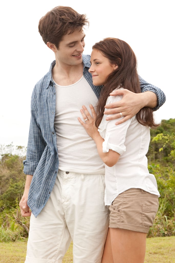 Kristen Stewart as Bella and Robert Pattinson as Edward share a sweet moment.