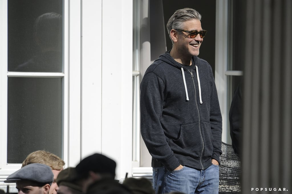 George Clooney laughed on set.