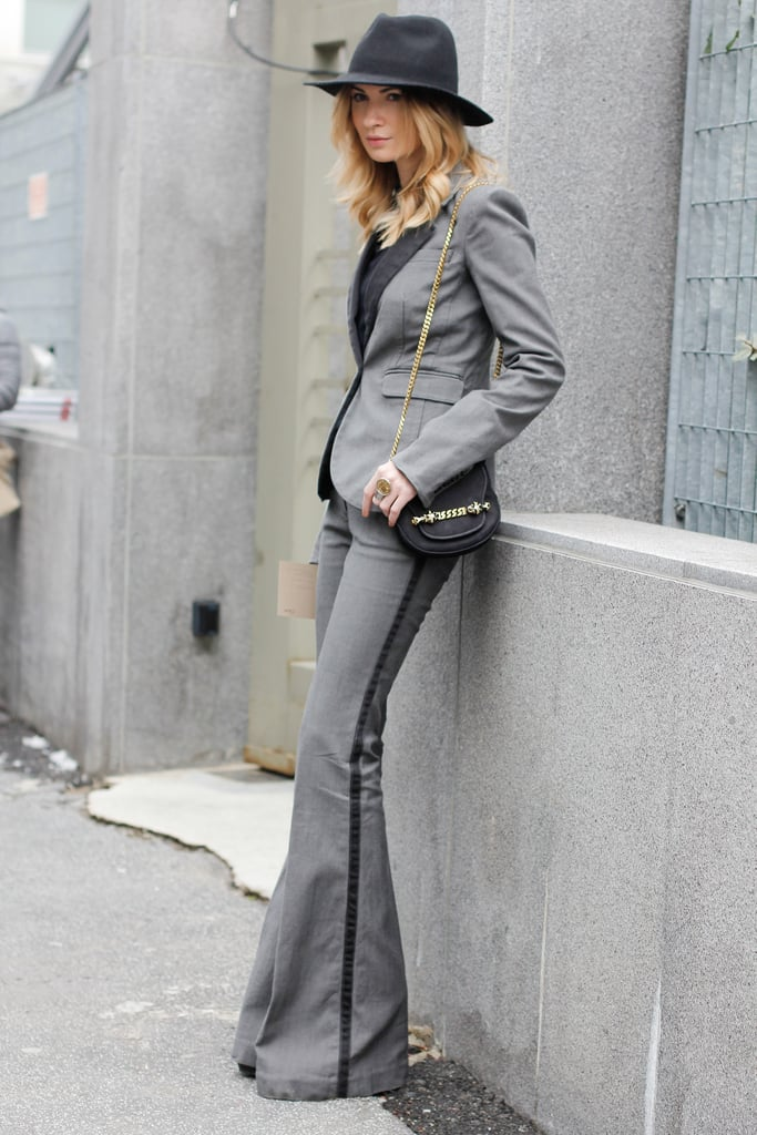 This look's '70s silhouettes and understated gray palette reminded us of Annie Hall.