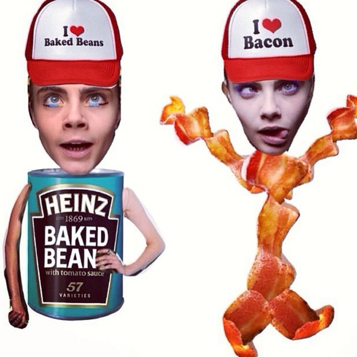 How does a model celebrate a big event like 1,000 Instagrams? With a hearty meal of bacon and beans, of course! Source: Instagram user caradelevingne