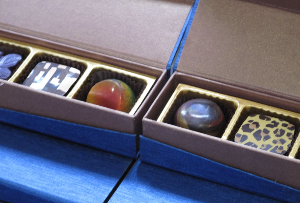 A close-up of colorful chocolate treats.