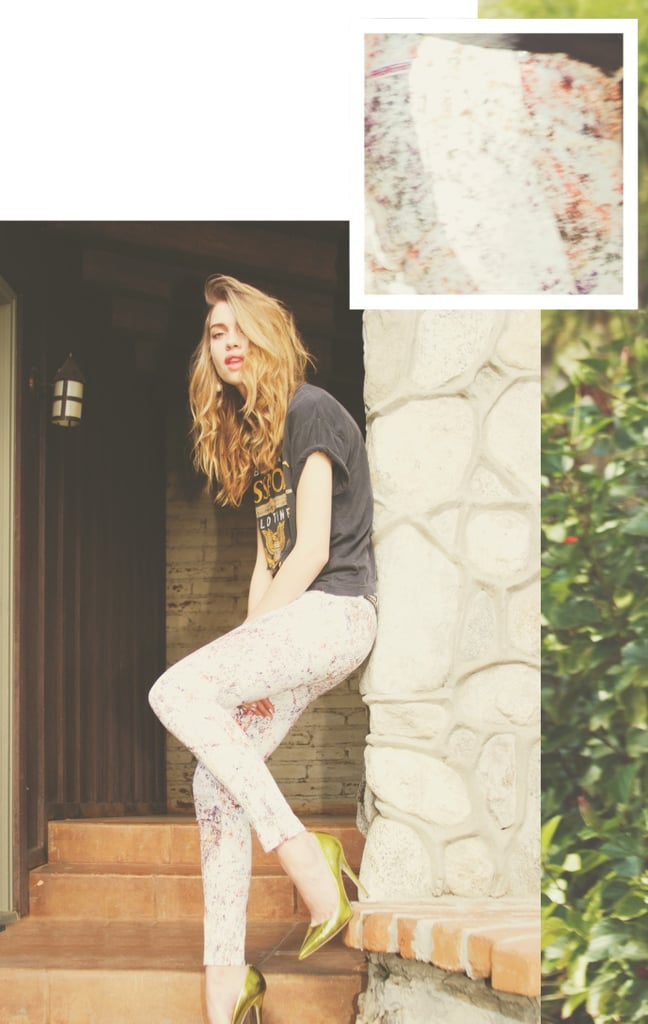 We love the idea of toughening up your printed jeans with a band tee, then adding major glam via metallic pumps.
