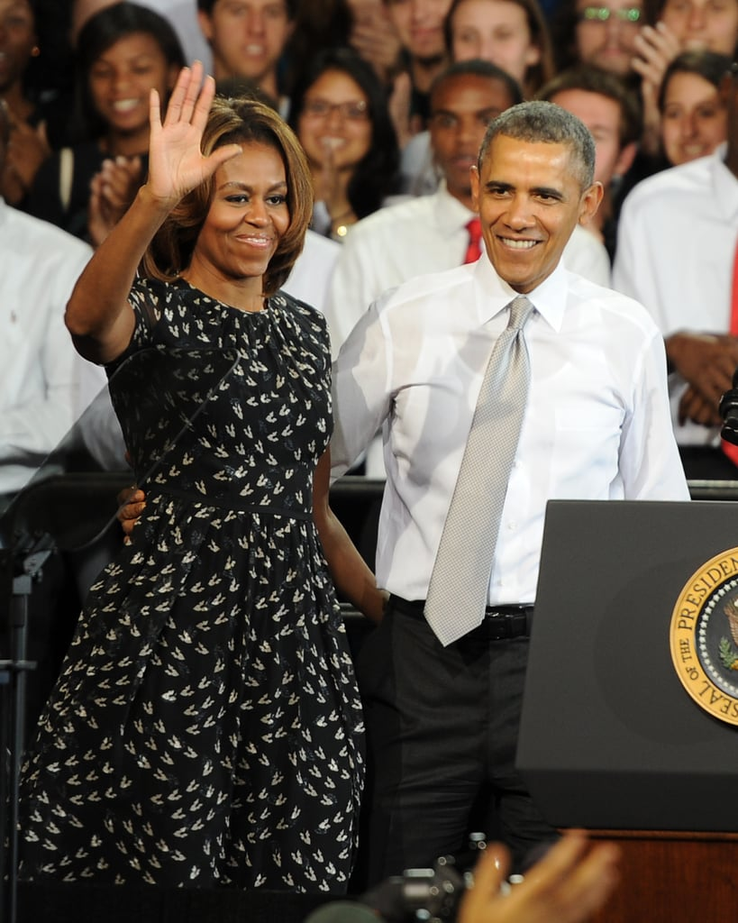 What's black and white and something we'd love in our closet? Michelle's frilly dress that she wore to speak at a Miami High School.