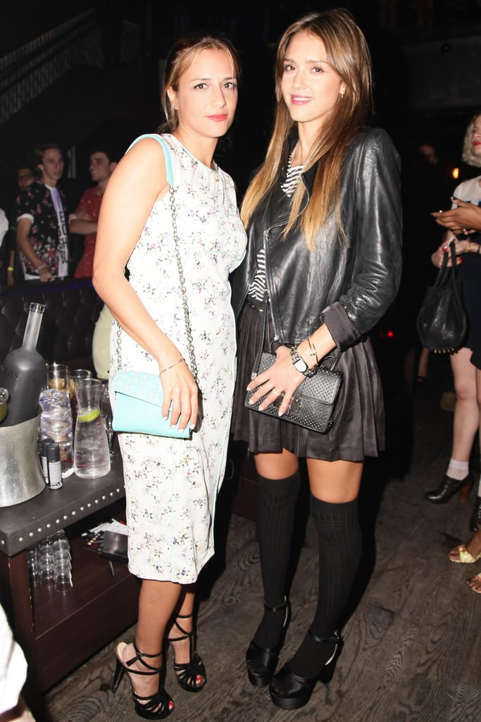 Jessica Alba gave a nod to the '90s in thigh-high socks as she posed with Charlotte Ronson at the designer's afterparty in NYC.