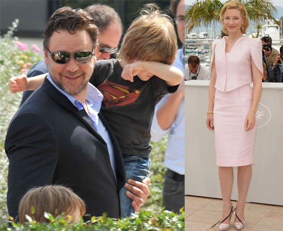Pictures of Russell Crowe, sons Charlie and Tennyson, and Cate Blanchett Promoting Robin Hood at the Cannes Film Festival 2010