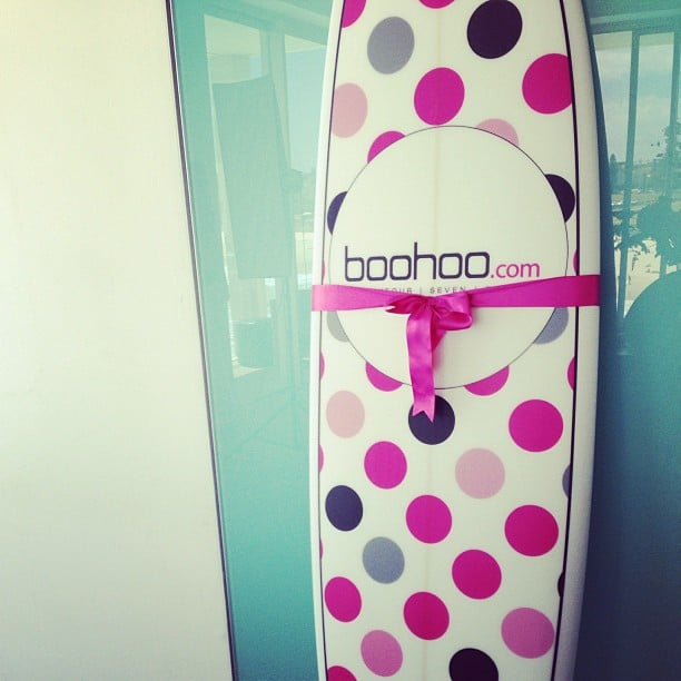 The best gift ever! Ali scored a sweet surfboard thanks to Boohoo, and it takes pride of place in our office.