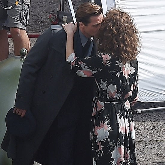Brad Pitt Kissing Lizzy Caplan on Allied Set 2016