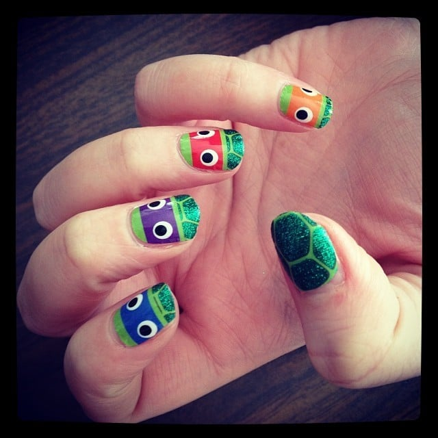 Teenage Mutant Awesome Nails ($10). The whole gang, their half shells, and even a slice of pizza are here to outfit your nails in sparkly wonder.