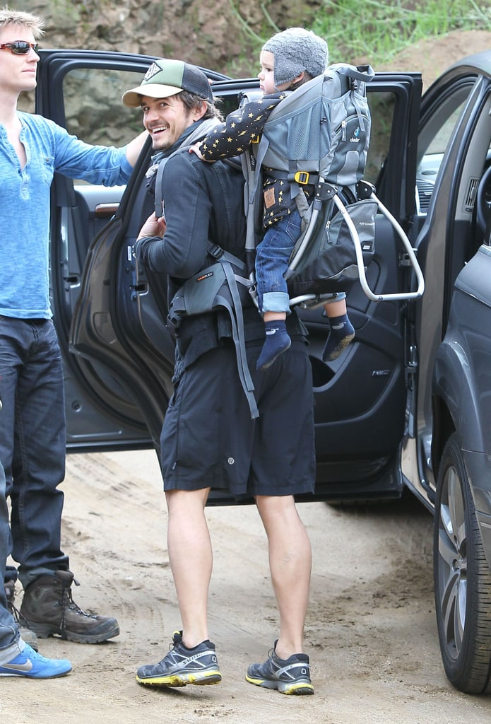 Orlando Bloom flashed a smile with Flynn Bloom.