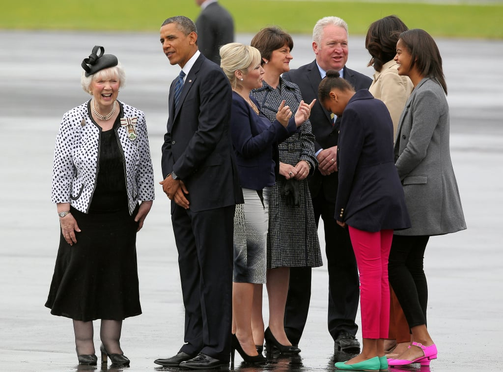 In June 2013, the Obama family was greeted when they arrived in Belfast, Ireland, for the G8 summit.