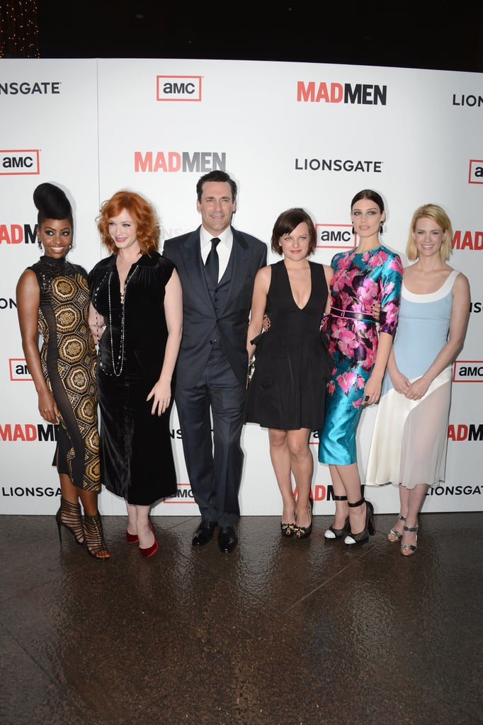 The cast of Mad Men posed at their sixth season premiere.