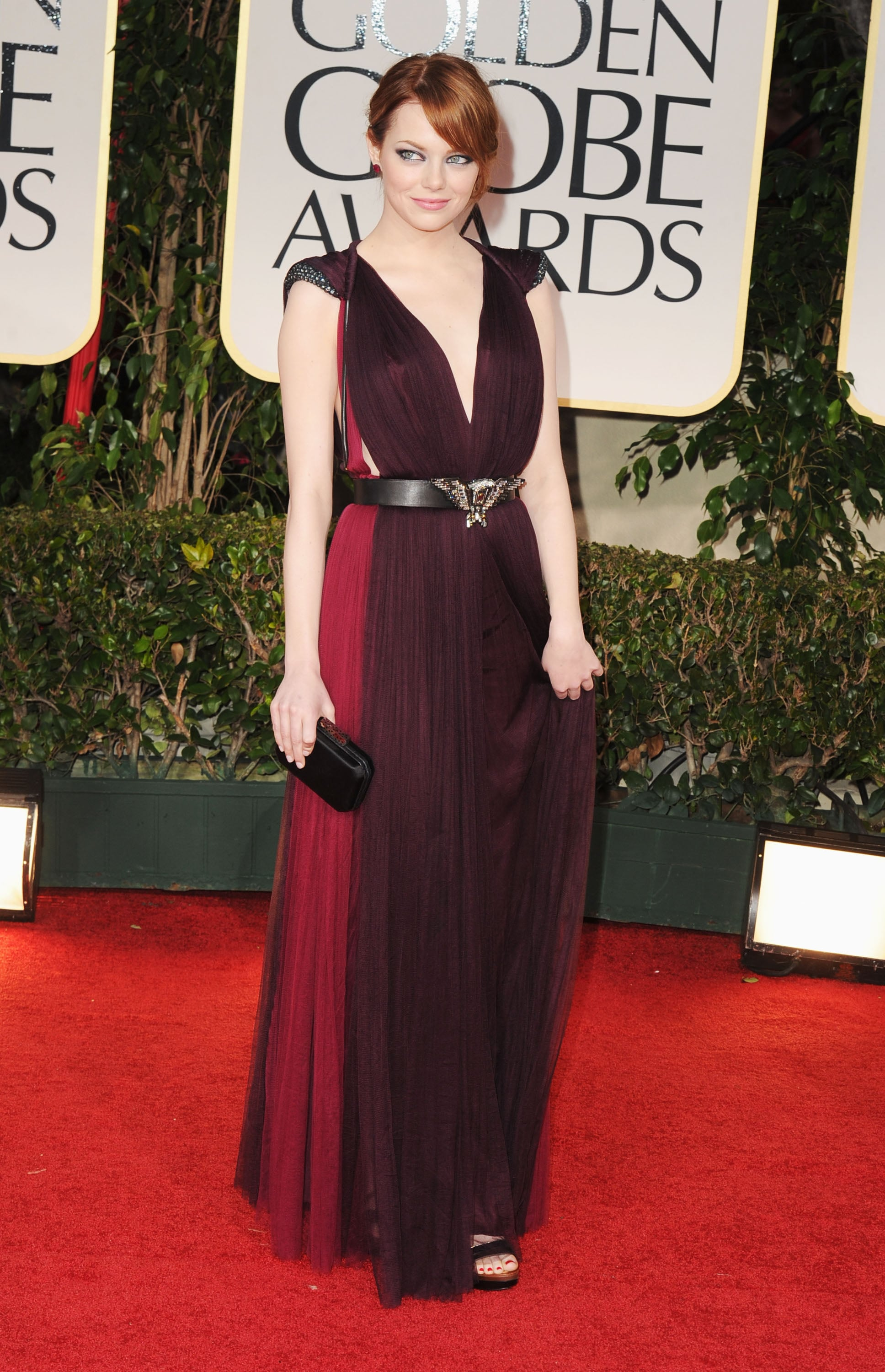 Emma Stone belted her Lanvin dress at the 2012 Golden ... Emma Stone Golden Globes