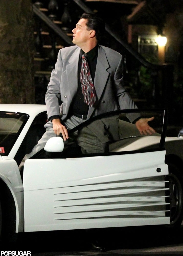 Leonardo DiCaprio hopped into a car on set.