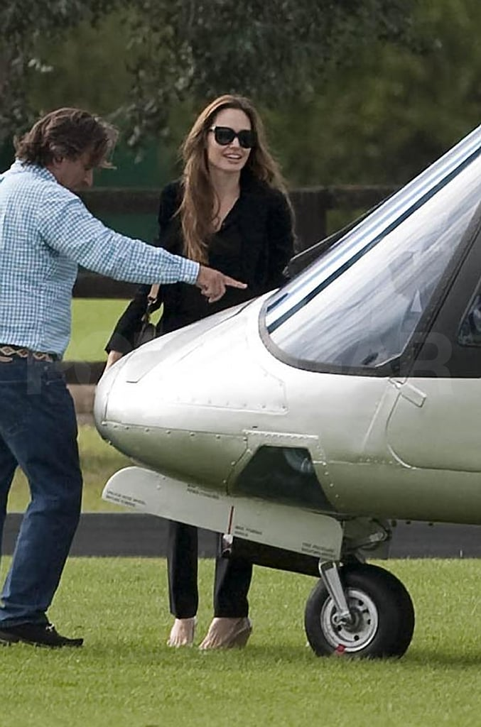 Angelina Jolie Takes Off From London in a Helicopter