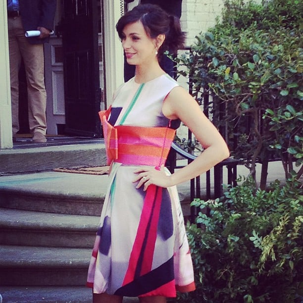 Homeland's Morena Baccarin wore an Armani dress to Saturday's brunch.