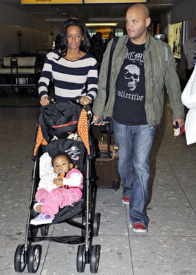 Mel B and Stephen Push Angel Through LAX