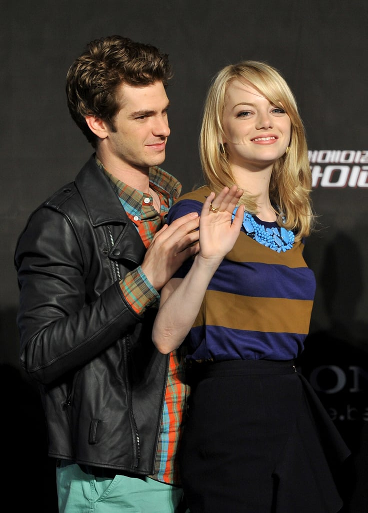 Andrew Garfield and Emma Stone attended the a The Amazing Spider-Man press conference in Seoul.