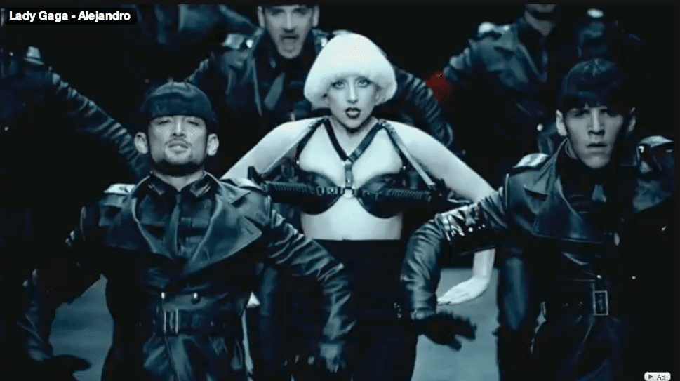 Her gun bra is clearly an ode to Madonna.