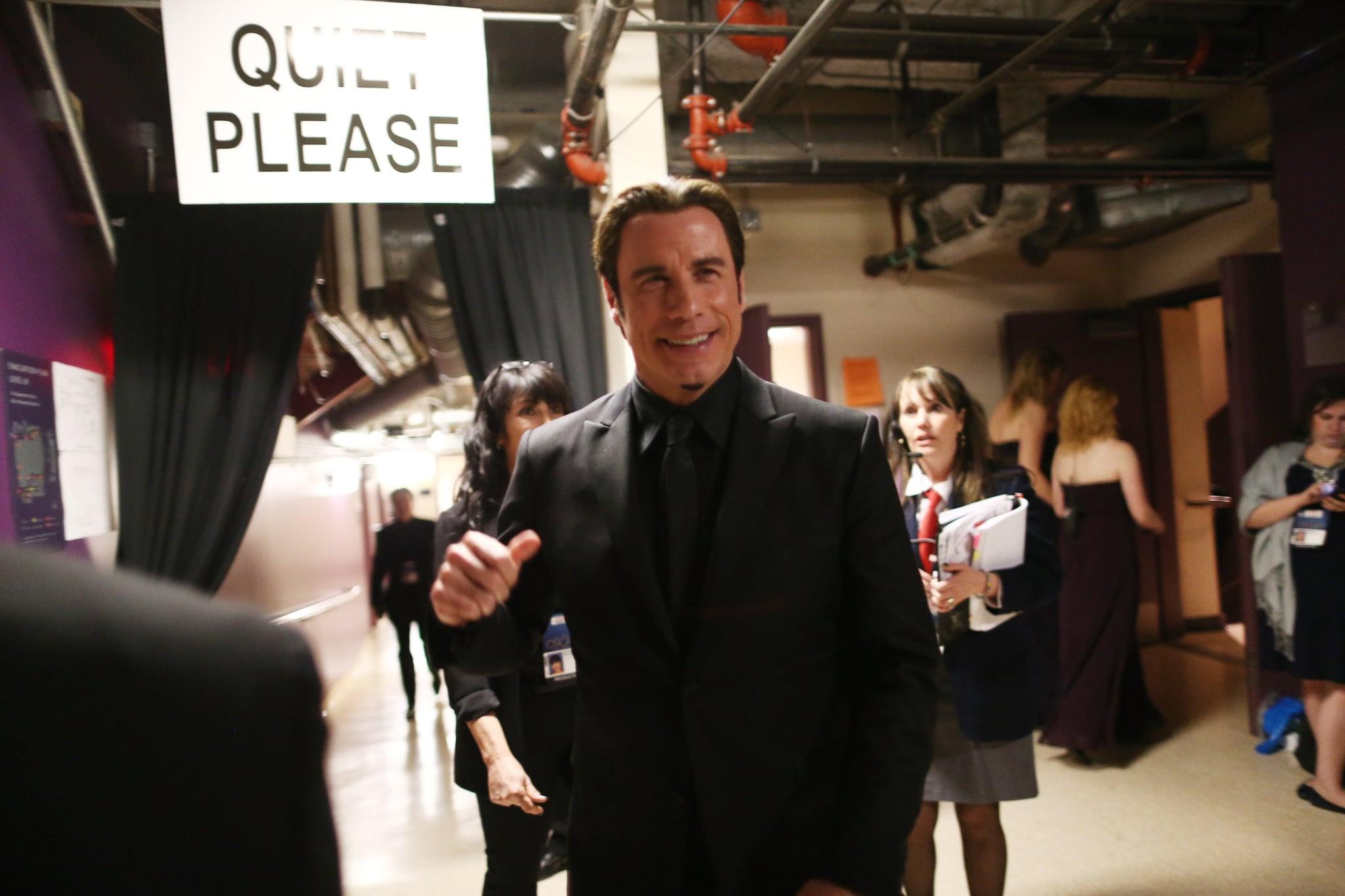 John Travolta backstage at the 2013 Oscars.