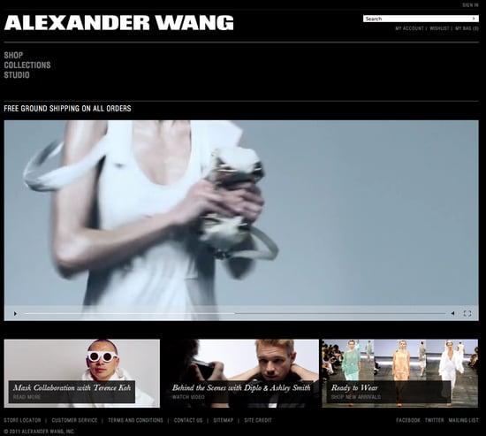 Fashion week Alexander Wang relaunches website for woman