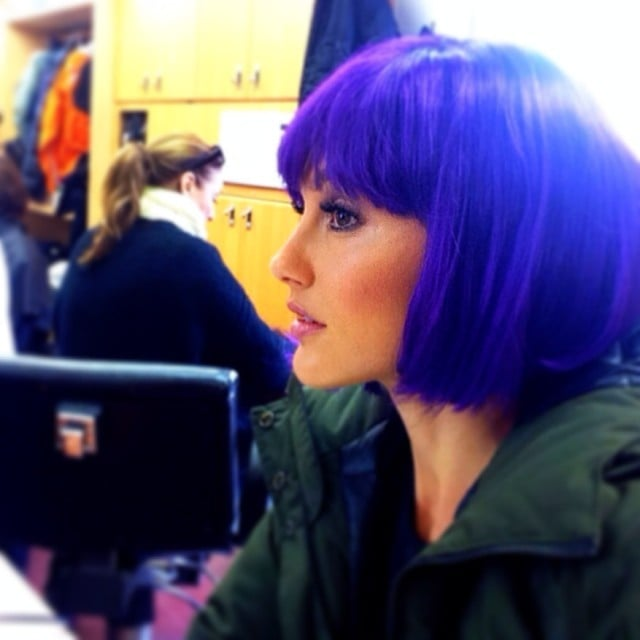 Minka Kelly wigged out on the set of Almost Human. Source: Instagram user minkak