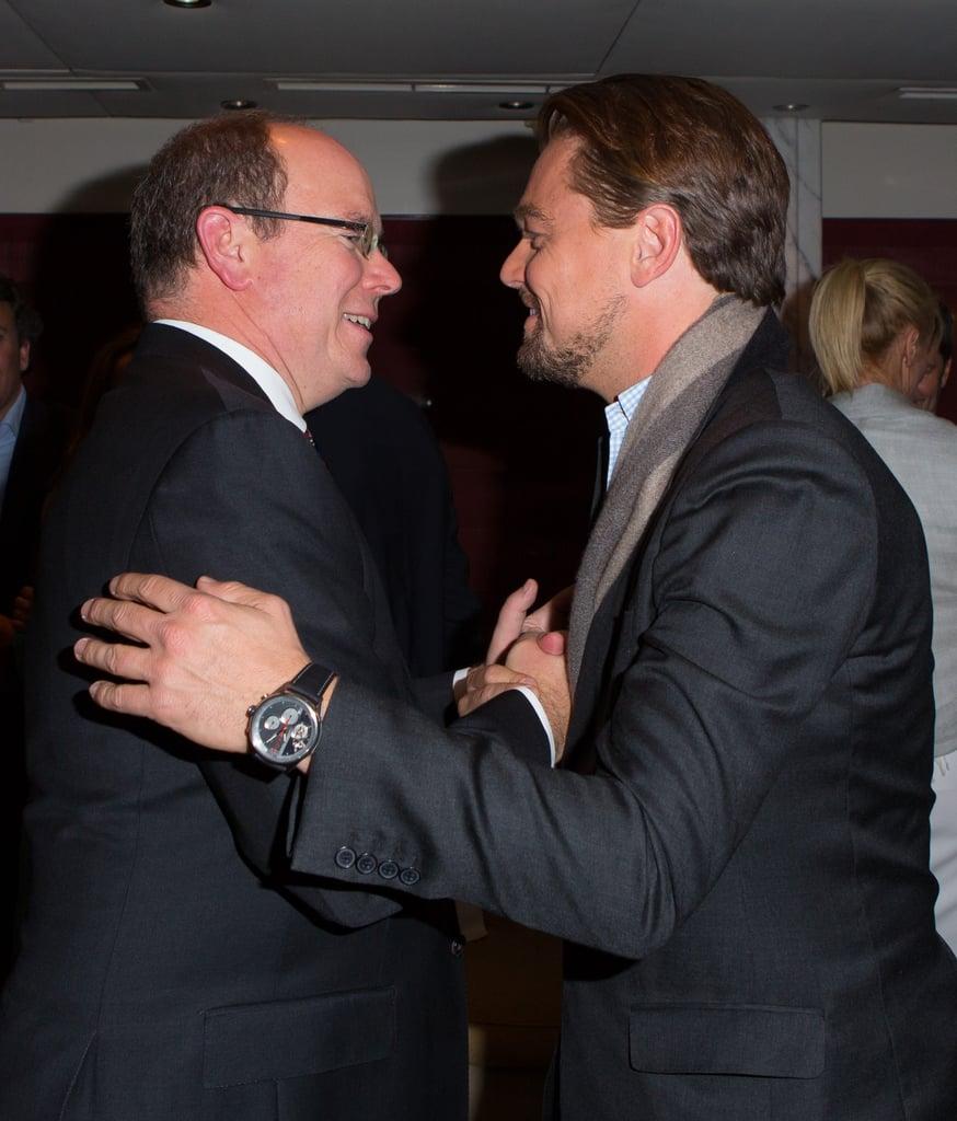 Leonardo DiCaprio bonded with Prince Albert II of Monaco at the Tag Heuer Grand Prix party in Monte Carlo on Saturday.