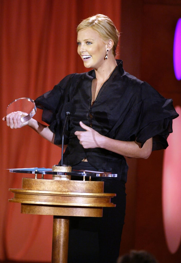 Charlize Theron accepted the best actress award in 2004.