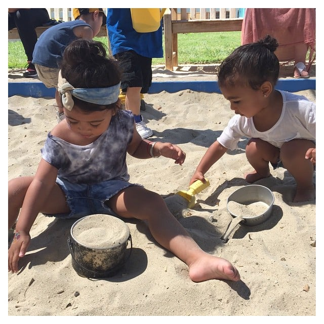 North and her friend Ryan played in the sand.