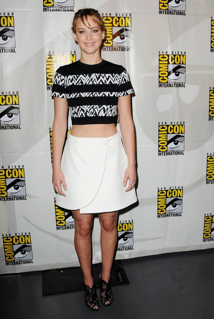 We knew crop tops were a trend the moment Jennifer Lawrence started wearing them. Here, she rocked a printed (and striped!) top with a sleek skirt.