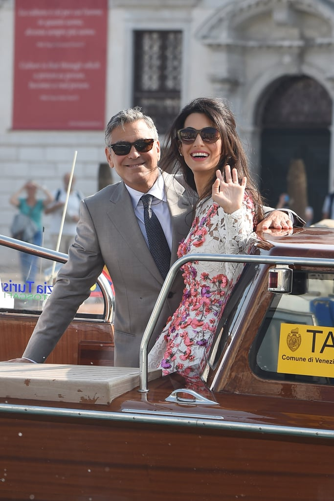 George and Amal smiled and waved for their first photos as newlyweds in Venice during their September 2014 wedding weekend.