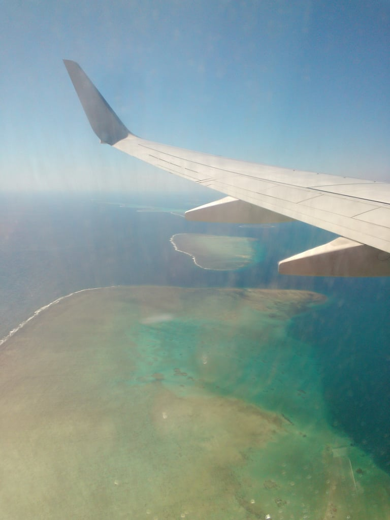 Fiji from above! Switch off all electronic devices? Not on my clock, lady.
