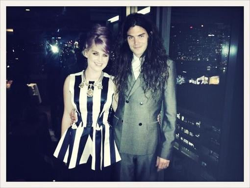 Kelly Osbourne looked chic in stripes with her fiancé, Matthew Mosshart, at an event in Australia. Source: Twitter user MissKellyO