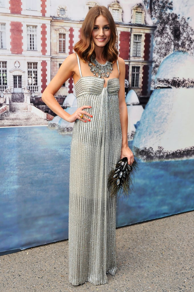 Olivia Palermo picked a shimmery shade of silver for the black-tie affair.