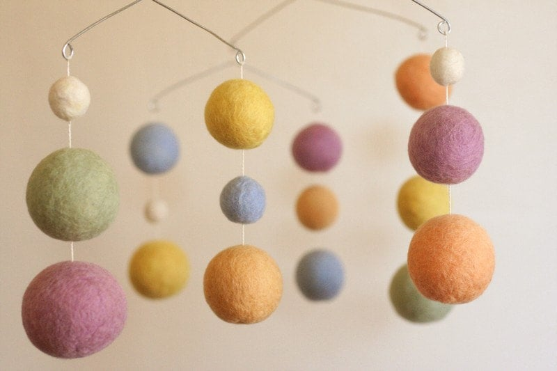 Spun Sugar Felted Wool Baby Mobile