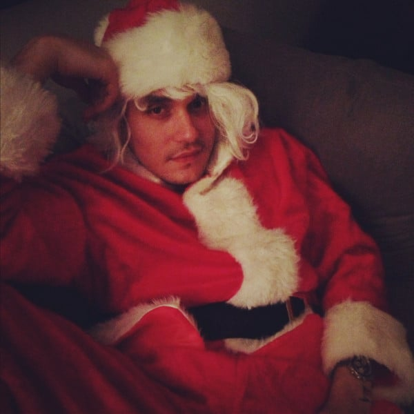 "Katy Perry tweeted out a photo of her ""Santa baby,"" John Mayer. Source: Twitter user katyperry"