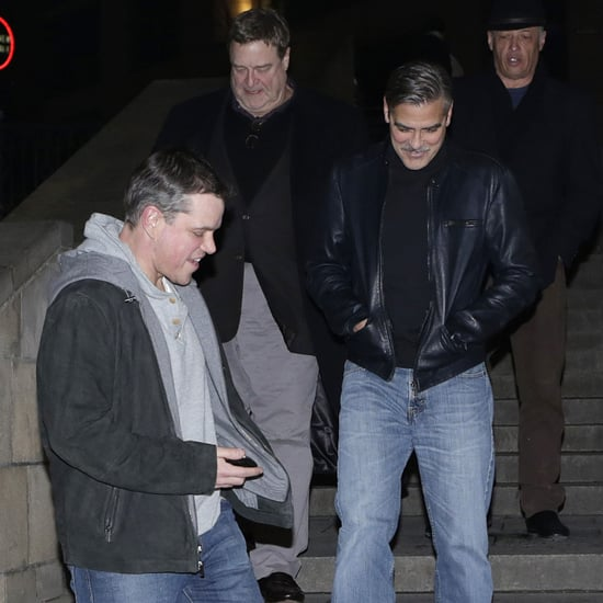 Matt Damon and George Clooney With Friends in Berlin